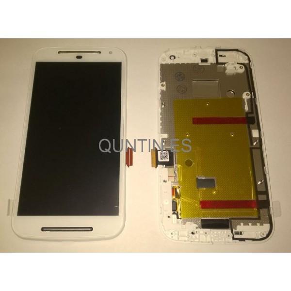 MOTO G 2nd,MOTO G2, XT1063,XT1068 pantalla completa blanco con marco